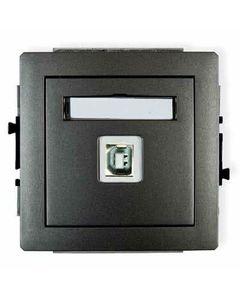 Gniazdo pojedyncze multimedialne USB DECO Grafitowy