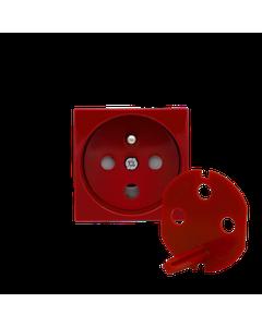 KOS45 Moduł - gniazdo pojedyncze z/u DATA z przesłonami /z kluczem/ czerwone 351043