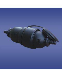 Adapter prosty wtyczka-gniazdo z pokrywą z/u 16A 2P AWA-WOGO czarny 51.80