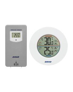 Bezprzewodowa stacja pogodowa z pomiarem temperatury zewnętrznej i wewnętrznej, biało-szara OR-SP-31...