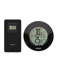 Bezprzewodowa stacja pogodowa z pomiarem temperatury zewnętrznej i wewnętrznej, czarna OR-SP-3100/B...