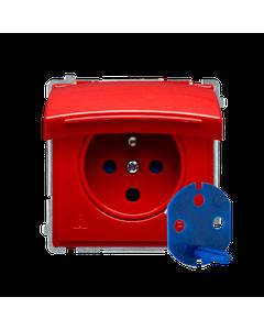 Gniazdo pojedyncze z uziemieniem bryzgoszczelne IP44 DATA BASIC Czerwony
