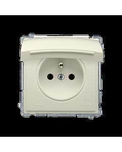 Gniazdo pojedyncze z uziemieniem bryzgoszczelne IP44 z ochrona styków BASIC Bezowy