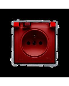 Gniazdo pojedyncze z uziemieniem bryzgoszczelne IP44 z ochrona styków BASIC Czerwony