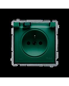 Gniazdo pojedyncze z uziemieniem bryzgoszczelne IP44 z ochrona styków BASIC Zielony