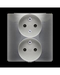 Gniazdo podwójne z uziemieniem i funkcja niezmiennosci faz i ochrona styków SIMON 54 Srebrny