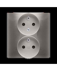 Gniazdo podwójne z uziemieniem i funkcja niezmiennosci faz i ochrona styków SIMON 54 Zloty