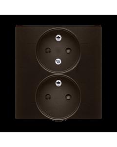 Gniazdo podwójne z uziemieniem i funkcja niezmiennosci faz i ochrona styków SIMON 54 Brazowy
