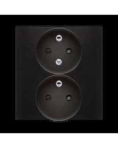 Gniazdo podwójne z uziemieniem i funkcja niezmiennosci faz i ochrona styków SIMON 54 Antracyt