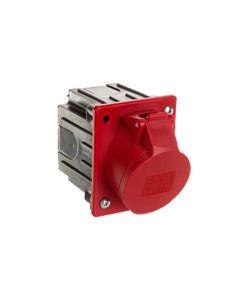 Gniazdo tablicowe skośne 16A 5P 400V czerwone IP44 /z puszką/ 415-6p