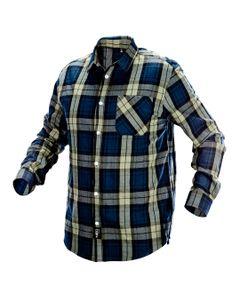 Koszula flanelowa granatowo-oliwkowo-czarna, rozmiar L 81-541-L