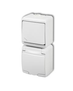 JUNIOR Łącznik schodowy + gniazdo hermetyczne (klapka biała) biały WGHP-3p