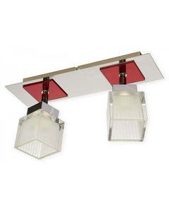 Lampa sufitowa Oxen CZE 2x60W chrom + czerwony