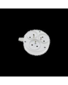 Listwa przedluzacza 3 gniazdowa z uziemieniem biala