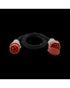 Przedluzacz 1 gniazdowy silowy 16A/5P IP20 Czarny