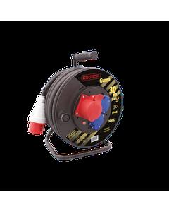 Przedluzacz bebnowy silowy 2x230V+1x16A/5P IP44 Czarny