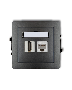 Gniazdo HDMI + gniazdo komp. RJ45 DECO Grafitowy