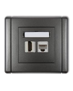 Gniazdo HDMI + gniazdo komp. RJ45 FLEXI Grafitowy