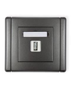 Gniazdo pojedyncze multimedialne USB FLEXI Grafitowy