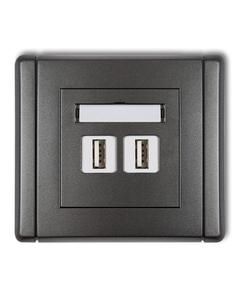 Gniazdo podwójne multimedialne USB FLEXI Grafitowy
