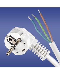 Przewód przyłączeniowy W-3 3x1,5 mm2 biały z wtyczką kątową 3m 51.935