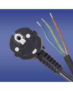 Przewód przyłączeniowy W-3 3x1,5 mm2 czarny z wtyczką kątową 3m 51.937