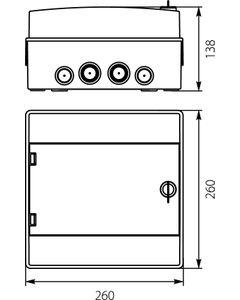 Rozdzielnica hermetyczna modułowa (500V AC ,1000V DC) 1x8 z zamkiem natynkowa IP65 RH-8/Z 36.9