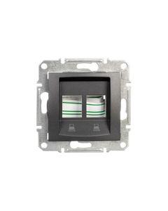 Sedna Płytka centralna podwójna pod wkład komputerowy RJ45 AMPMOLEX grafitowa SDN4400670