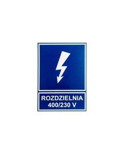 Tabliczka /znak informacyjny/ TZI 148X210P /ROZDZIELNIA 400V/230V E04TZ-01042141300