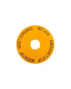 Tabliczka opisowa żółta okrągła fi90 EMERGENCY STOP (DE, GB, NL, F) M22-XAK3 216467
