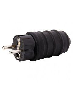 Wtyczka gumowa 10/16A 250V 2P+Z IP44  czarna P0050