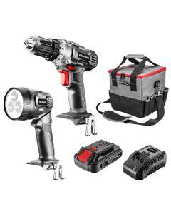 Zestaw elektronarzędzi akumulatorowych: wiertarko-wkrętarka, latarka, torba, akumulator Energy+ 58G0...